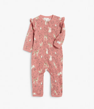 Baby pink forest animals print onesie