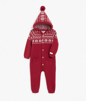 Baby red patterned knitted jumpsuit with hood
