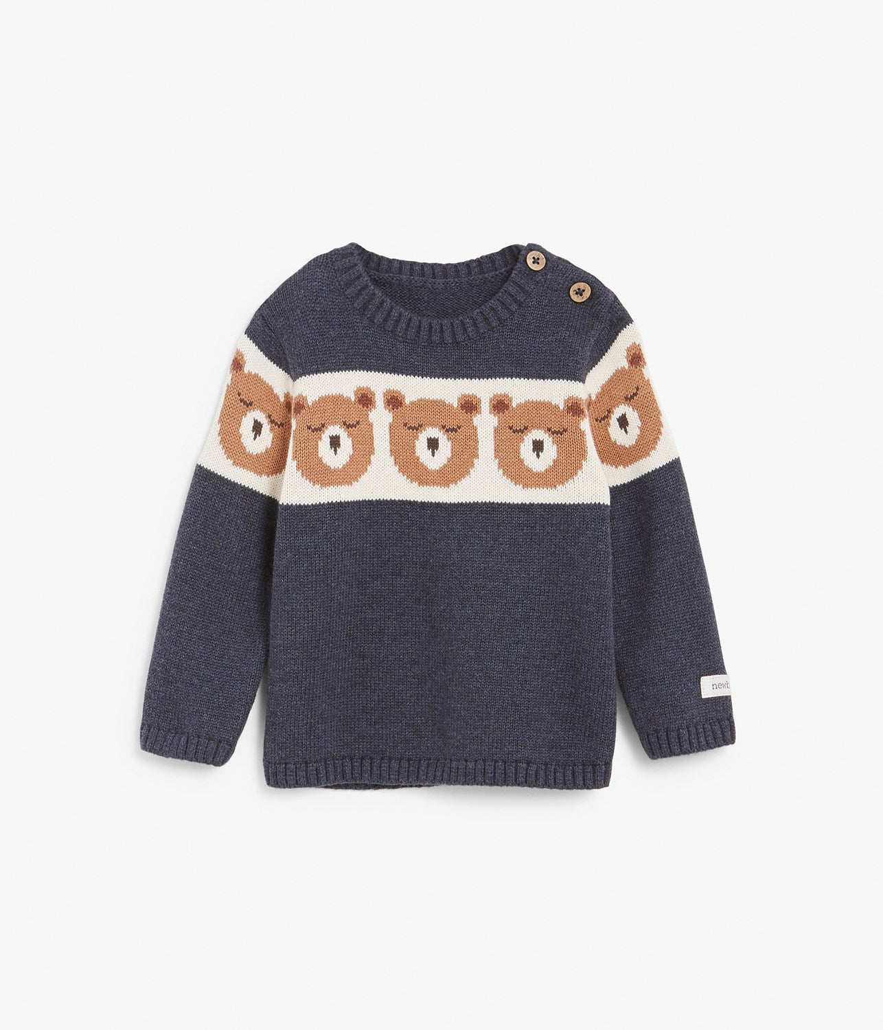 Baby navy bear face knitted sweater