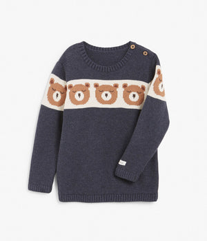 Kids navy bear face knitted sweater