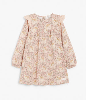 Kids beige deer & floral print dress