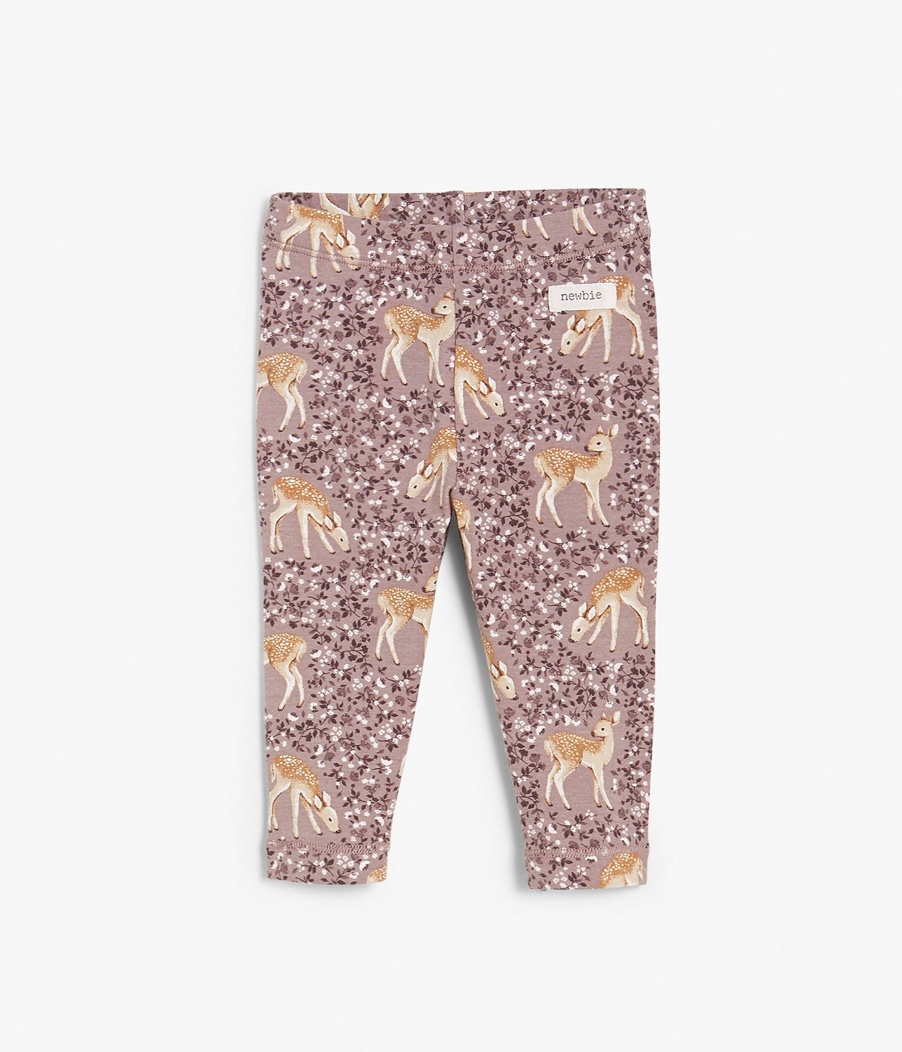 Baby deer and floral patterned leggings