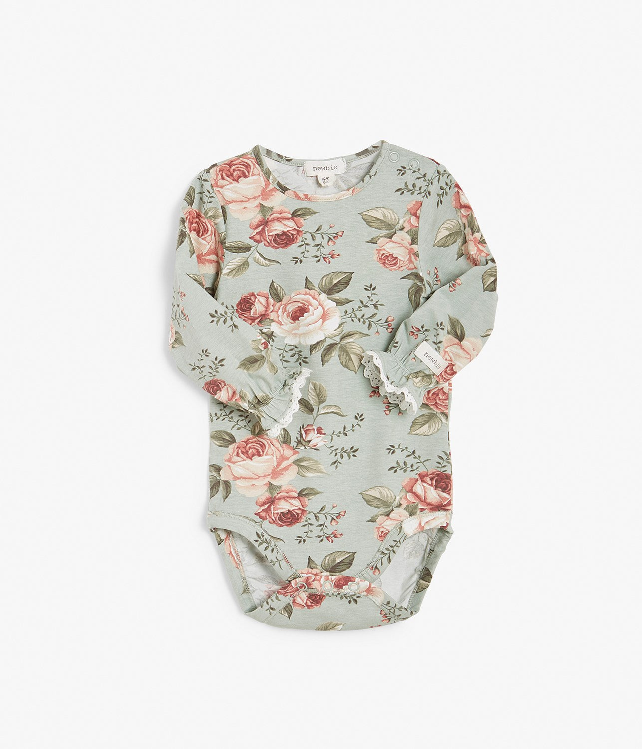 Baby green & pink floral print body with lace