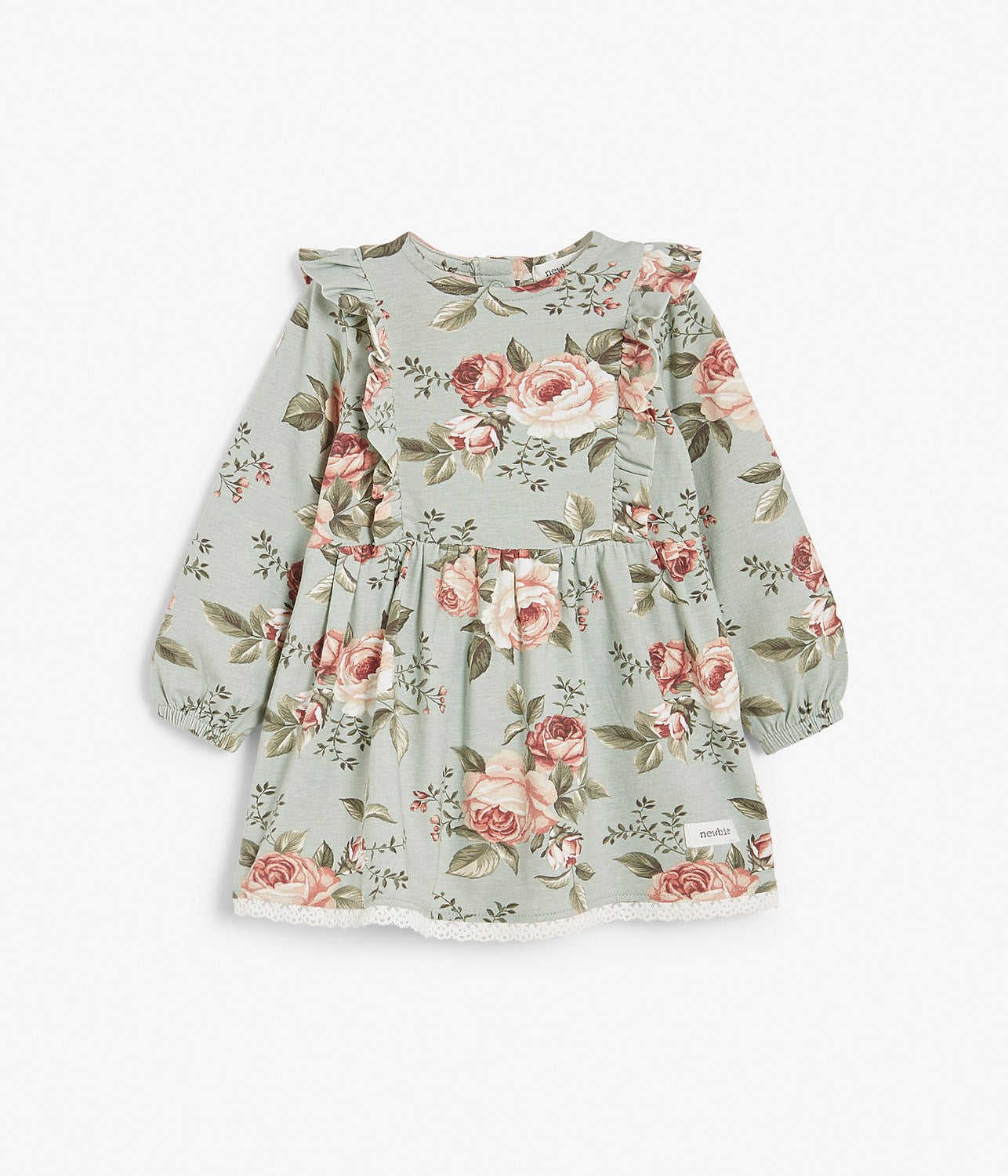 Baby green & pink floral print dress with ruffles