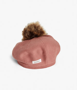 Pink knitted beret with pom pom
