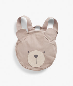 Bear face beige circle backpack