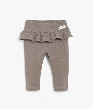 Baby brown leggings with frilled waist