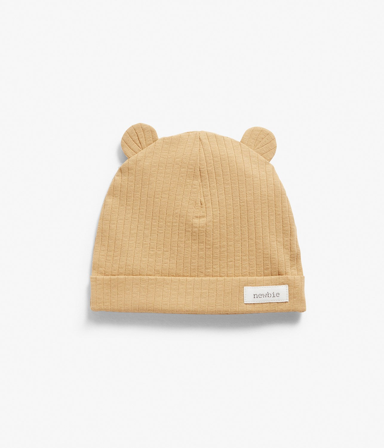 Baby yellow ribbed beanie with ears