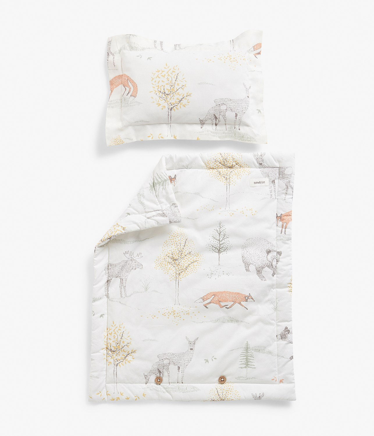 Forest animals print doll bedding