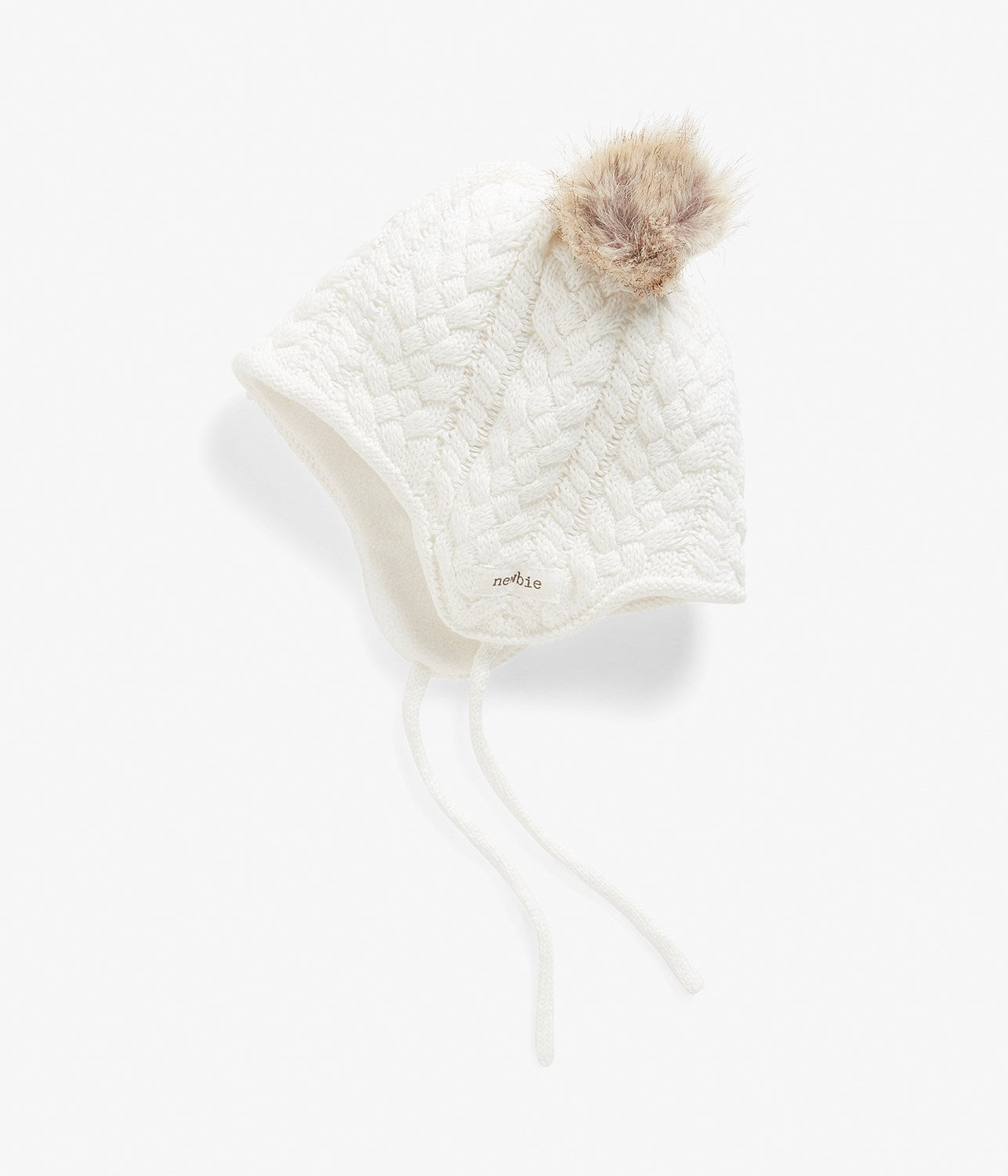 Baby knitted beanie with pom poms
