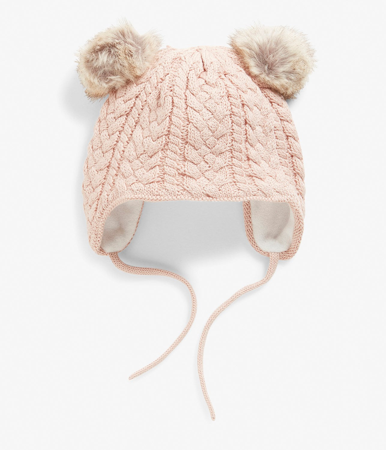 Baby pink knitted beanie with pom poms