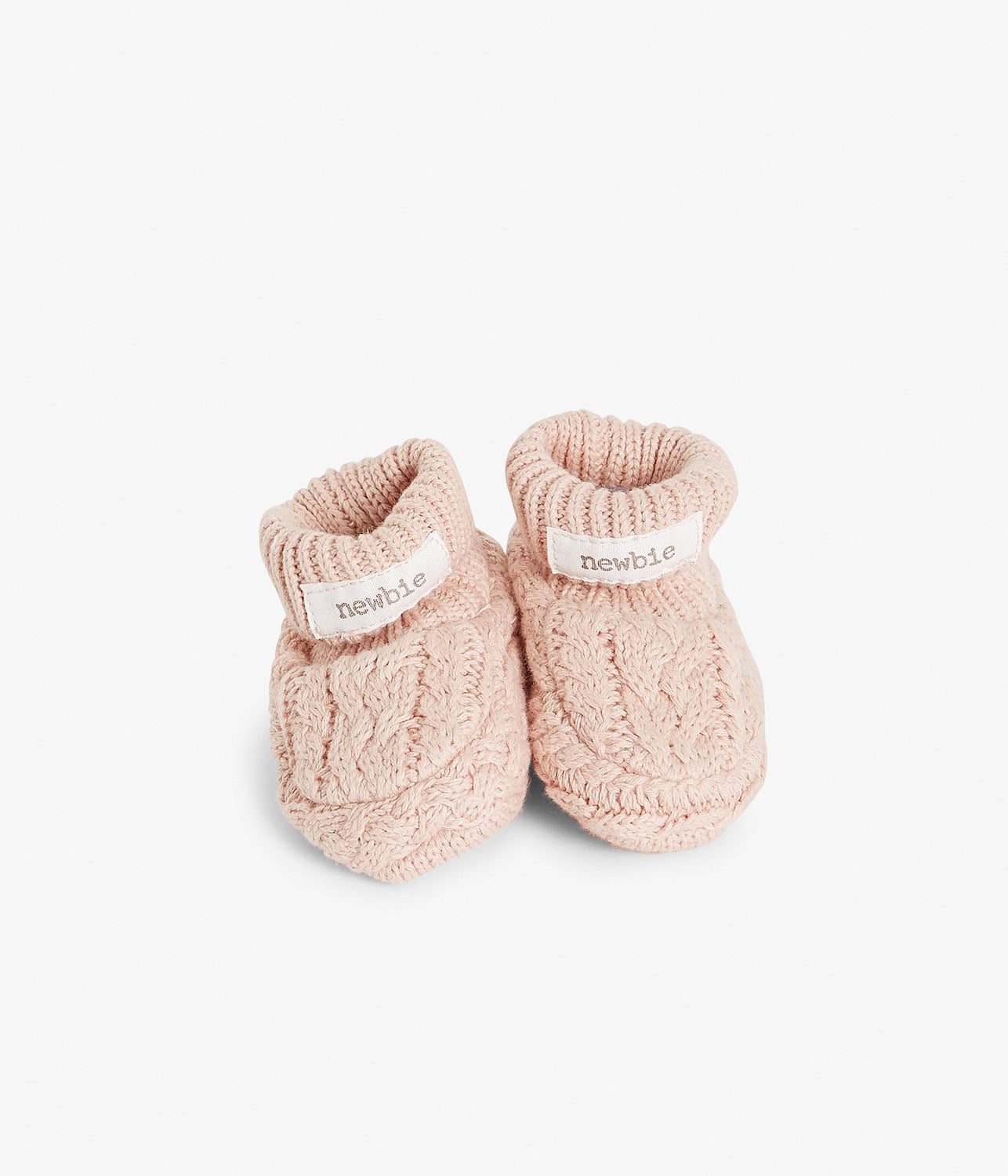 Baby pink organic cotton knitted booties