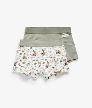 Kids khaki & white fox printed underwear