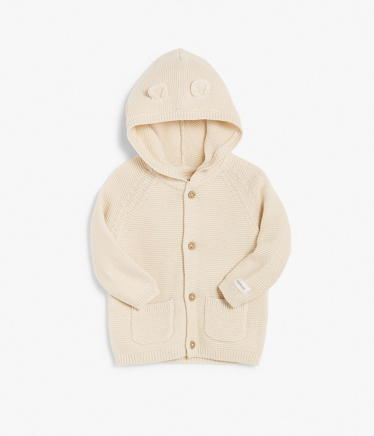 Baby cream knitted cardigan with hood & ears