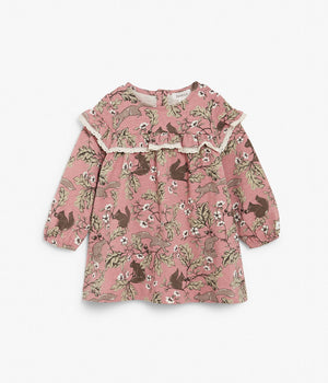 Baby pink squirrel & floral print dress