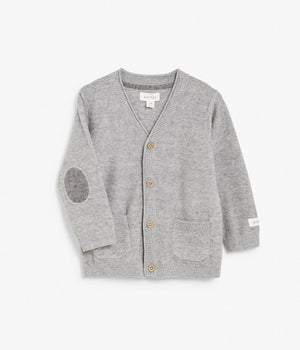 Baby grey cardigan with patwork elbows