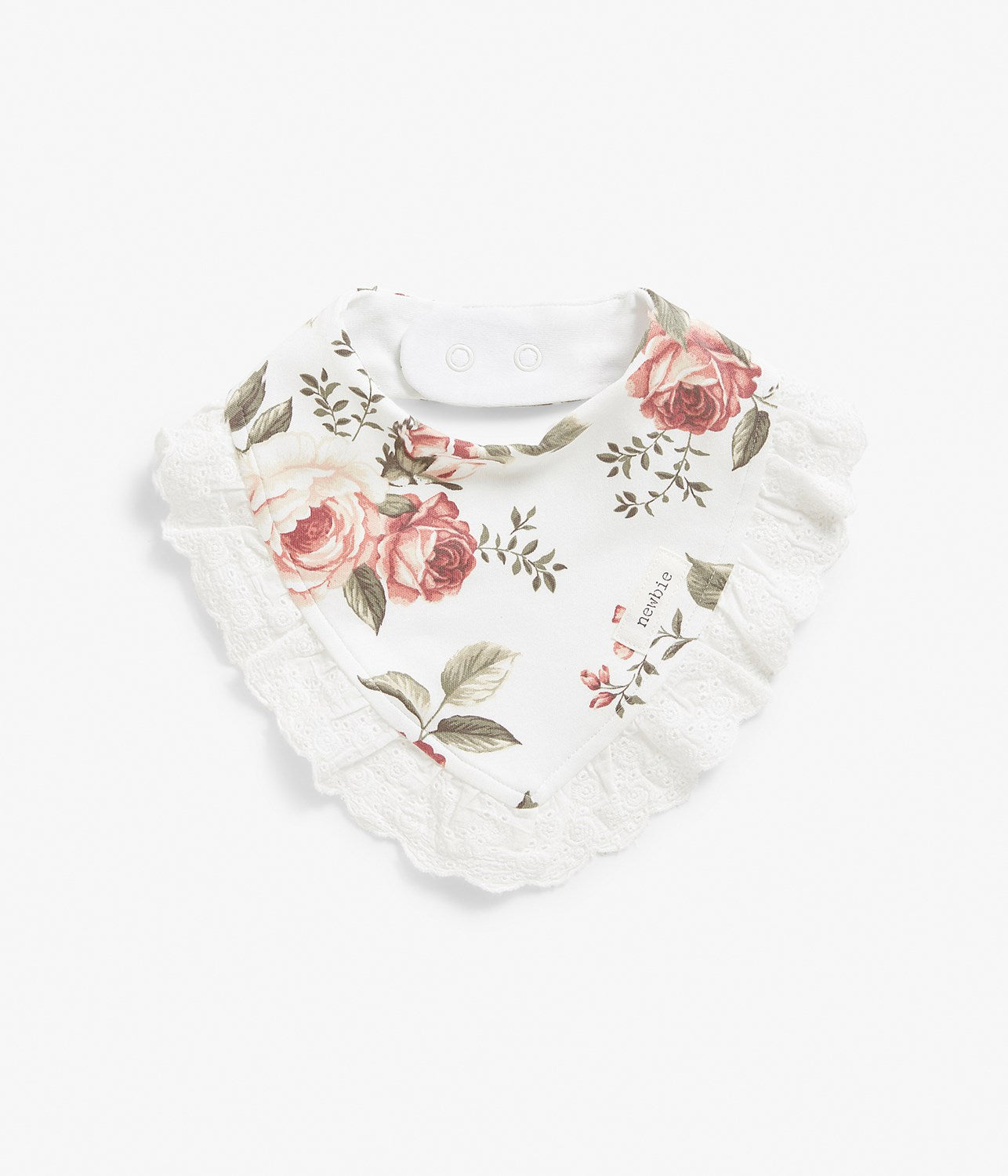 Baby pink & green floral print bib with lace frill