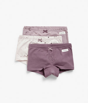 Kids purple star printed underwear 3-pack