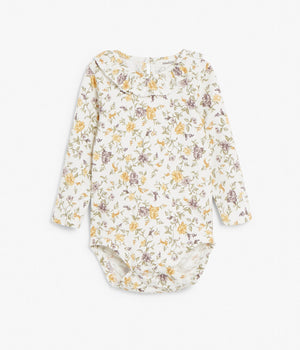 Baby yellow & purple floral print body