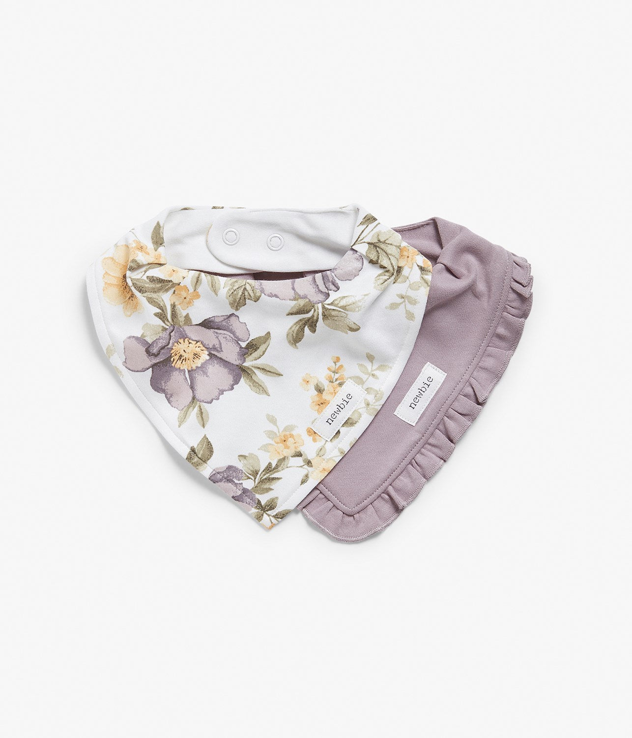 Baby white floral & purple bibs 2-pack