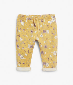 Baby yellow floral print jogging trousers