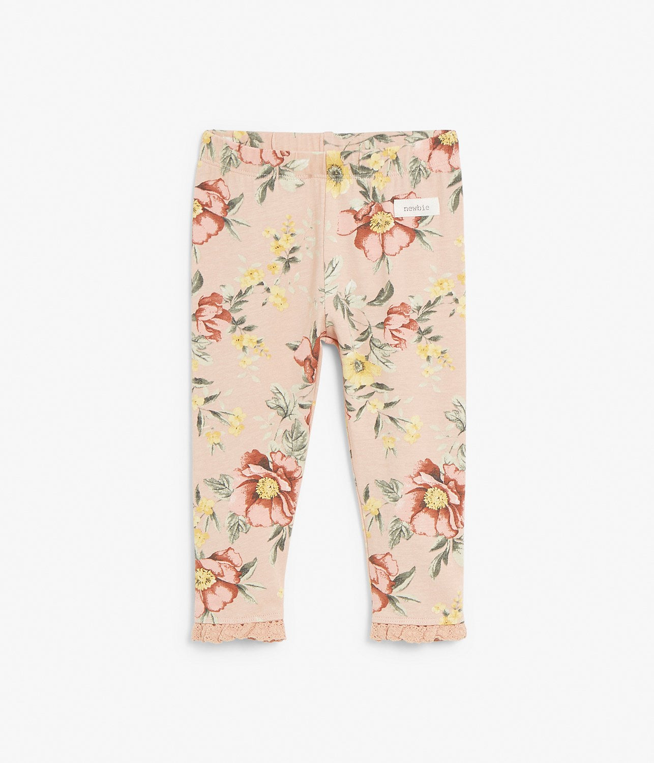 Baby pink floral leggings with frills