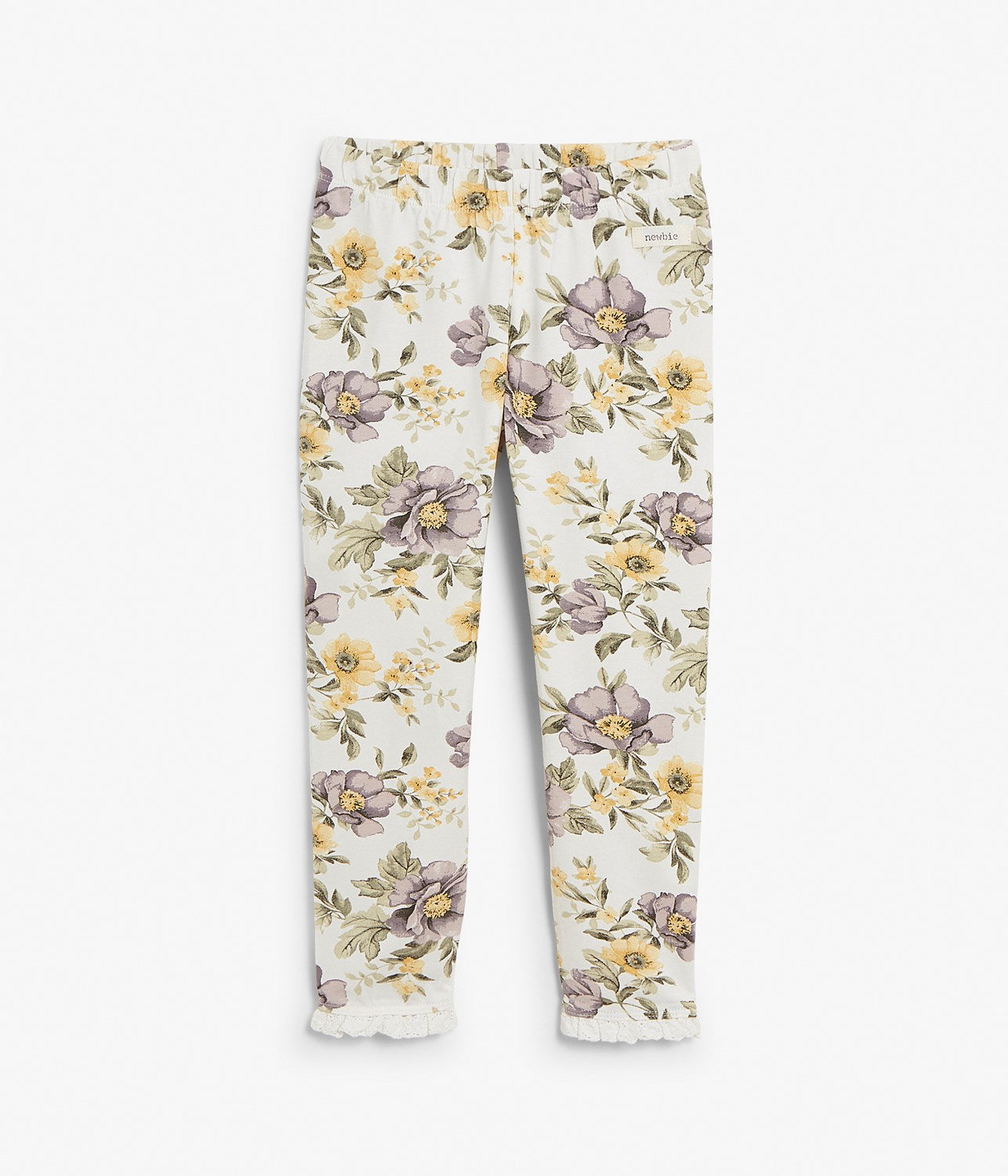Kids white floral leggings with frills