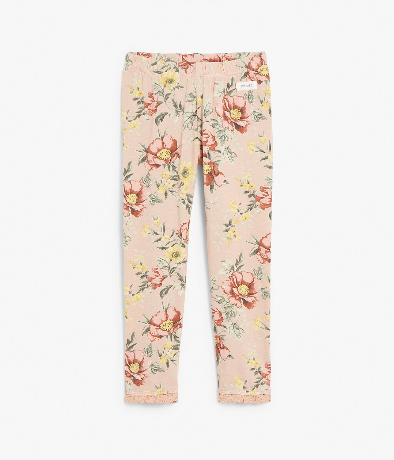 Kids pink floral leggings with frills