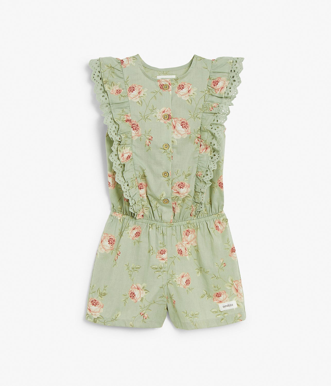Kids green & floral print playsuit