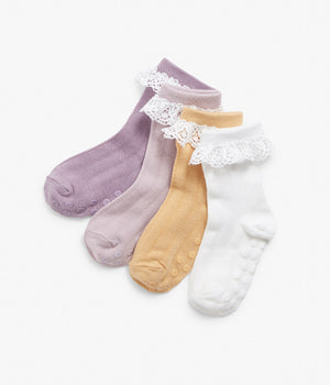 Kids solid colour socks with frills 4-pack