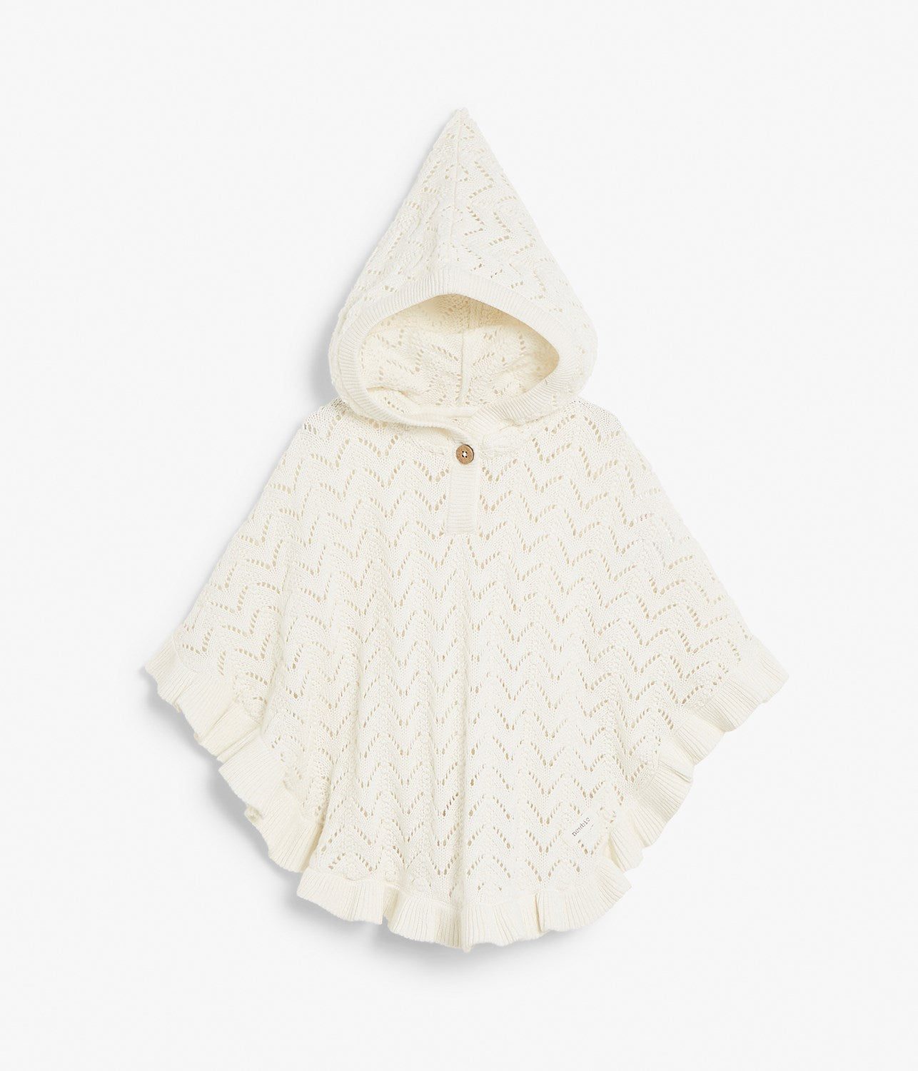 Kids white knitted poncho