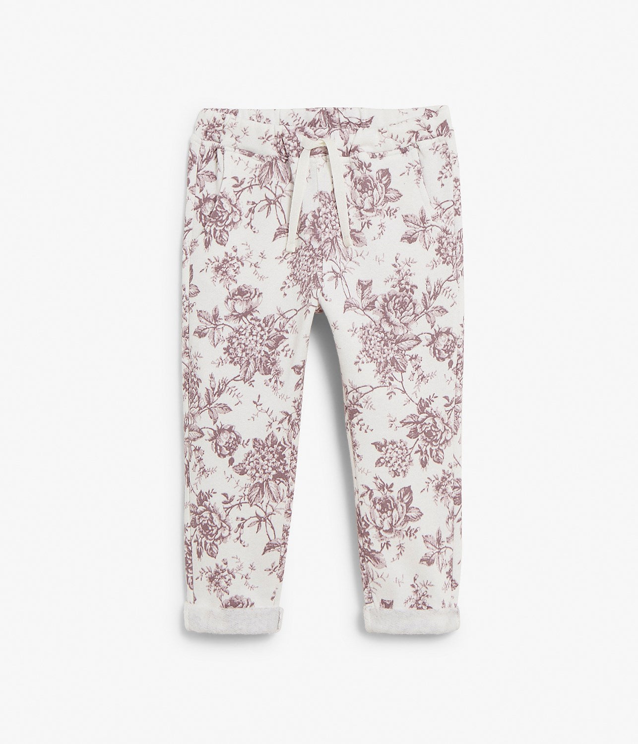 Kids white & floral jogging trousers
