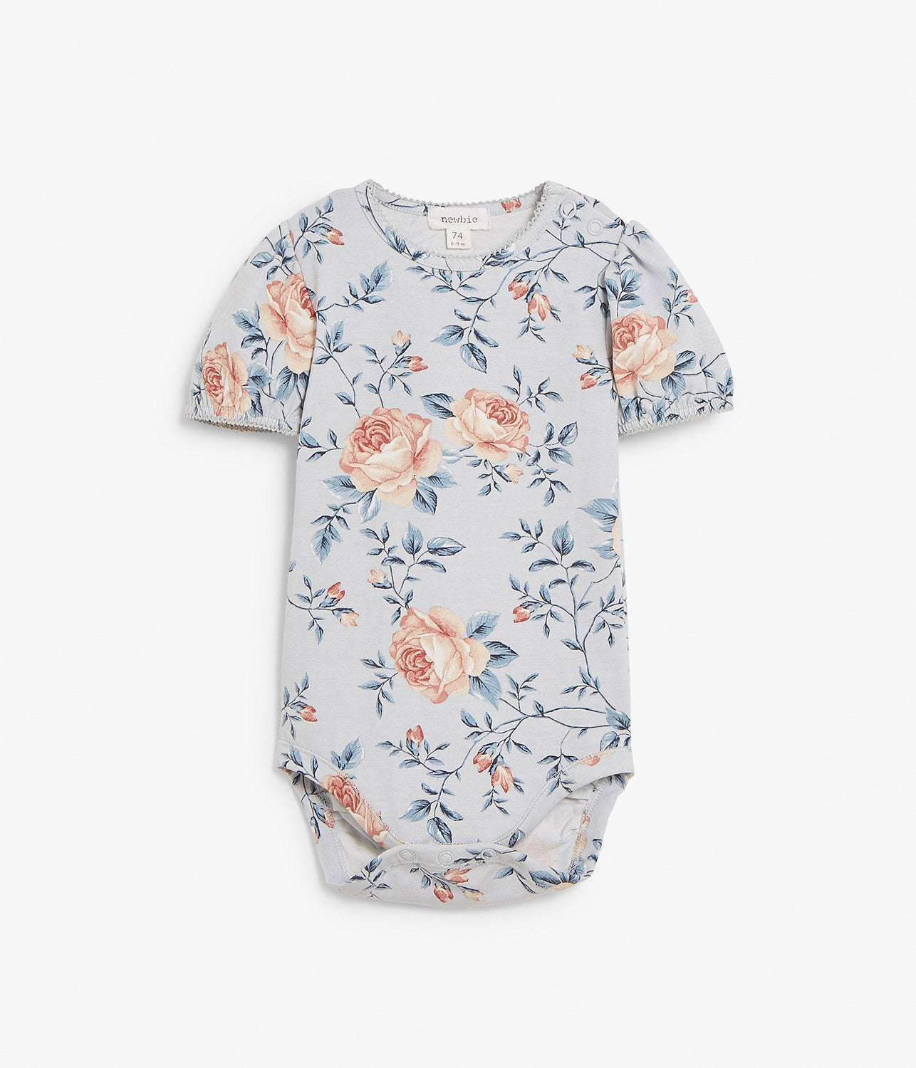 Baby blue & floral print body with puffed sleeves