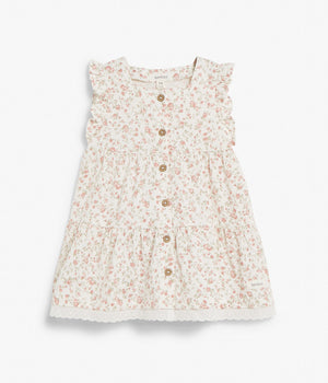 Baby white floral print dress