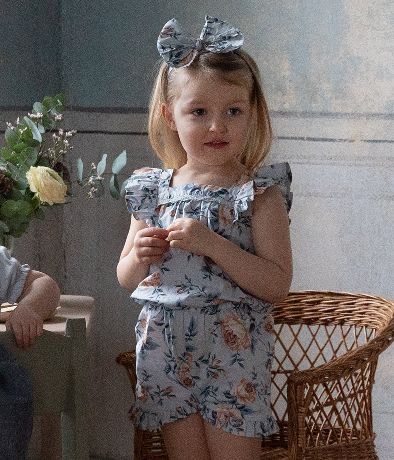 Kids blue floral print playsuit
