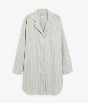 Womens green striped pyjamas shirt