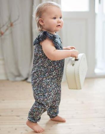 Baby floral pattern blue jumpsuit