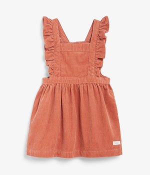 Kids corduroy overall dress with frills