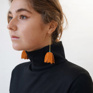 Jahde Leather Trumpet Earring