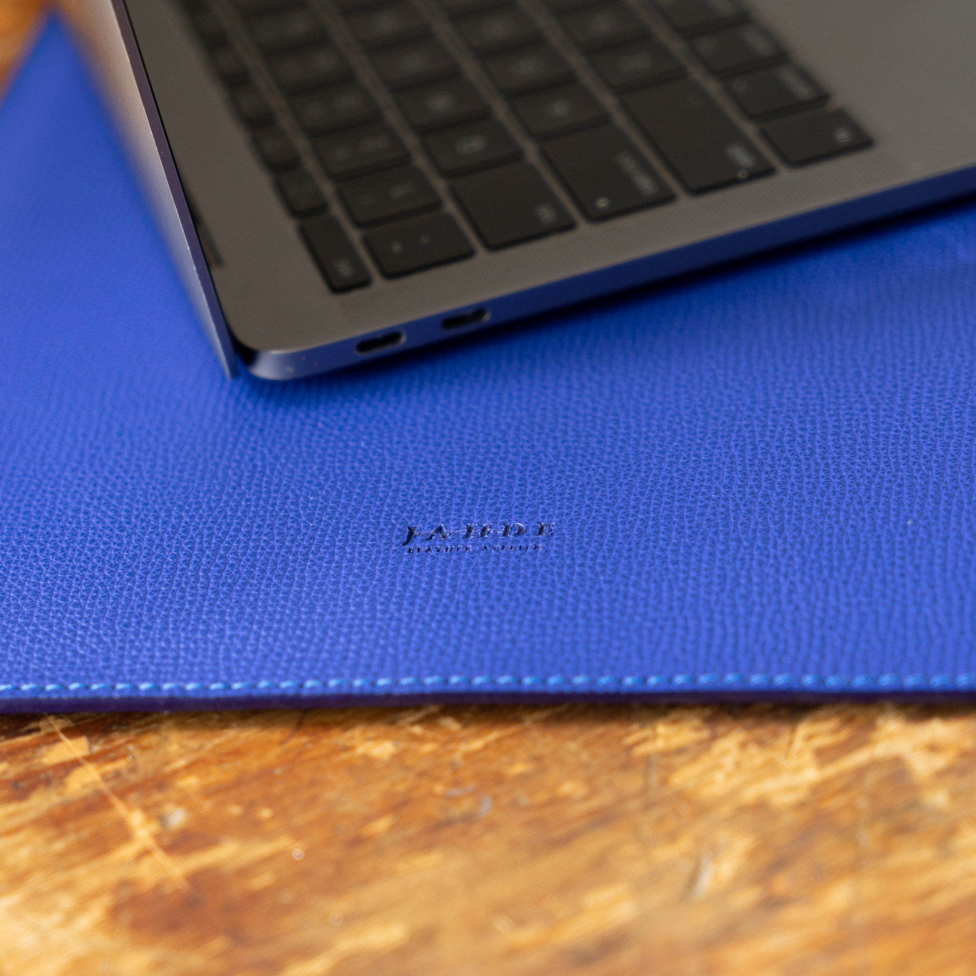 Leather Laptop Sleeve Cobalt Blue