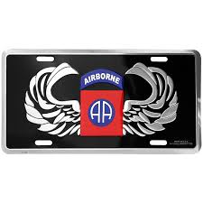 LICENSE PLATE 82ND AIRBORNE - 4155