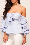 Off The Shoulder Bow Front Striped Top