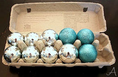christmas baubles stored in egg box.