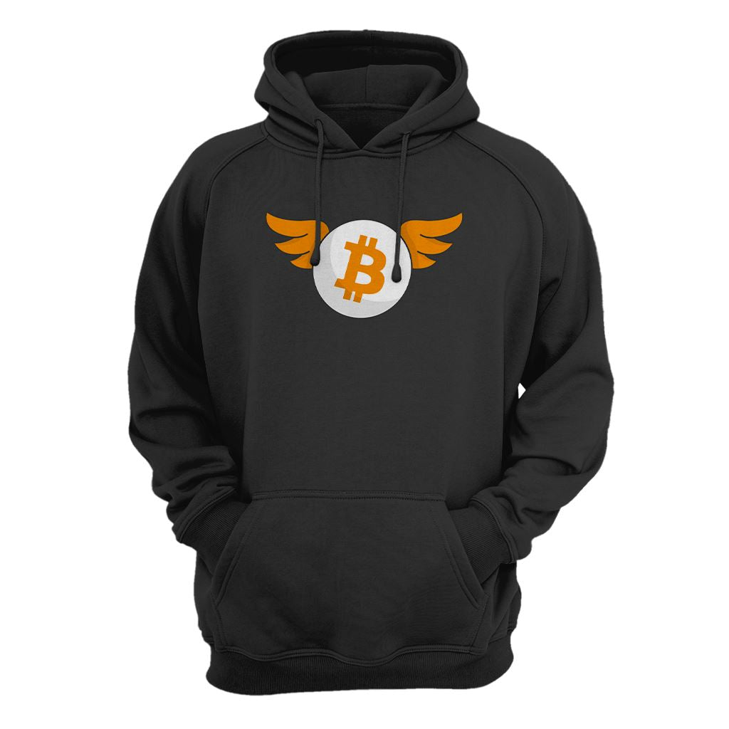 Bitcoin With Wings Hoodie - Crypto Wardrobe Bitcoin Ethereum Crypto Clothing Merchandise Gear T-shirt hoodie