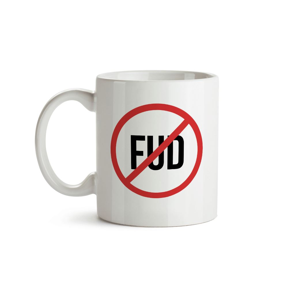 No Fud (Fear, Uncertainty and Doubt) Mug - Crypto Wardrobe Bitcoin Ethereum Crypto Clothing Merchandise Gear T-shirt hoodie