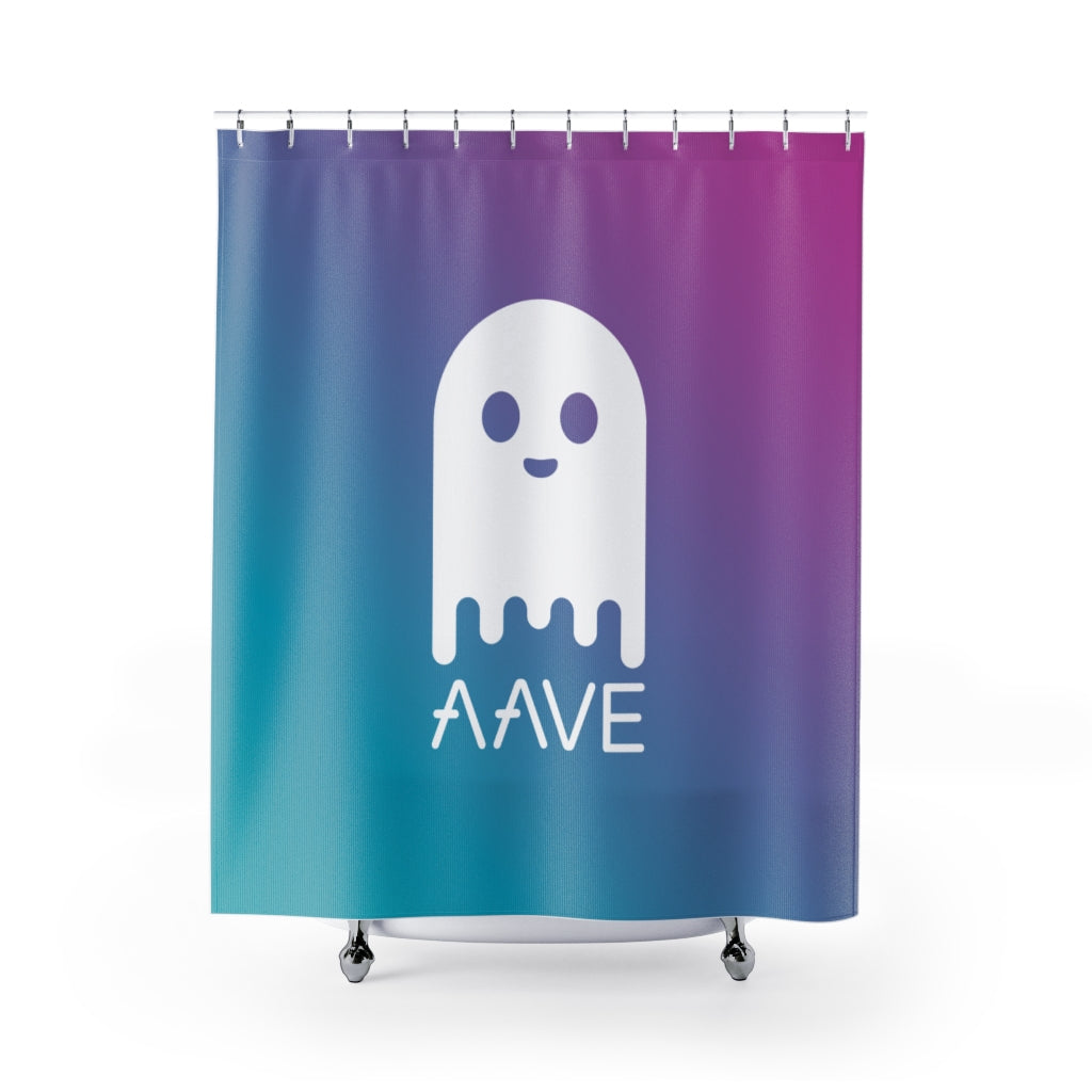 Aave (AAVE) Cryptocurrency Symbol Shower Curtains