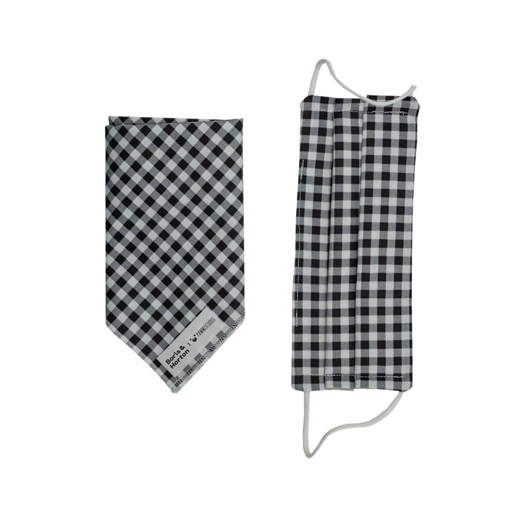 Boris & Horton x Pawmiscuous Face Mask and Bandana Set in Black Check