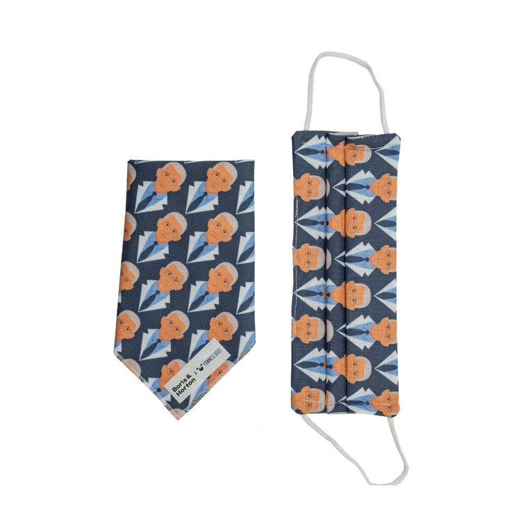 Boris & Horton x Pawmiscuous Face Mask and Bandana Set in Fauci Print