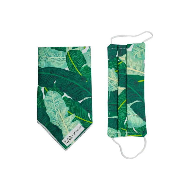 Boris & Horton x Pawmiscuous Face Mask and Bandana Set in Green Tropical