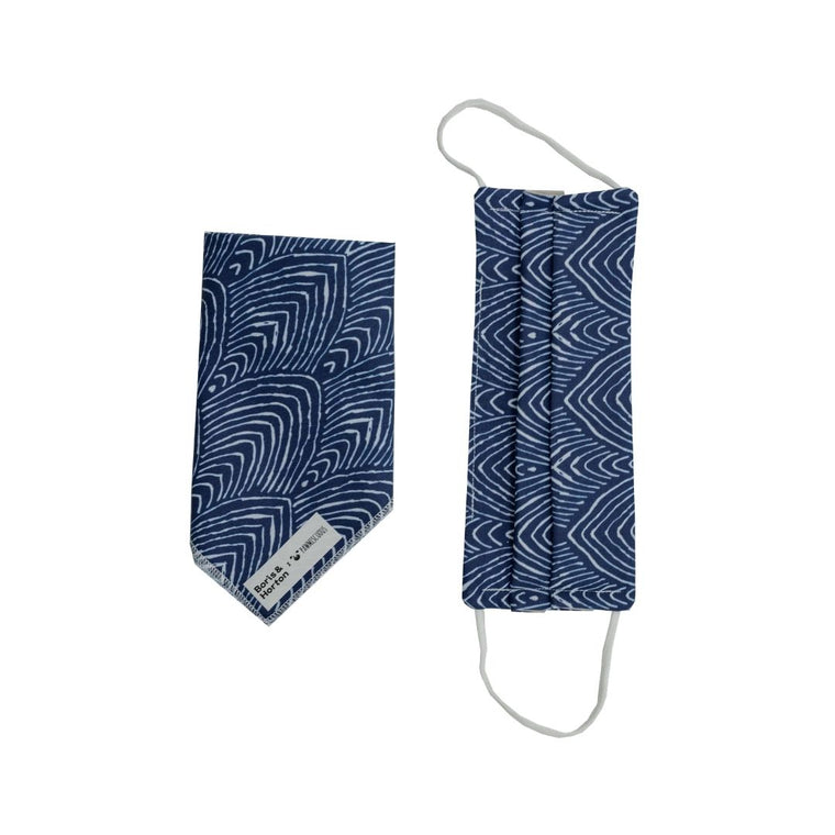 Boris & Horton x Pawmiscuous Face Mask and Bandana Set in  Blue Stripe